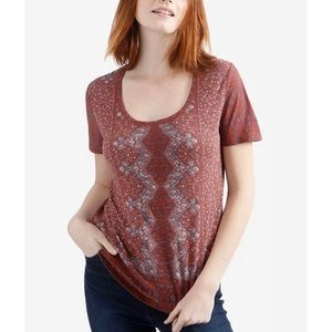 Lucky Brand Boho Floral Printed Scoop Neck Tee